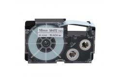 Casio XR-18WE1, 18mm x 8m, czarny druk / biały podkład, taśma oryginalna