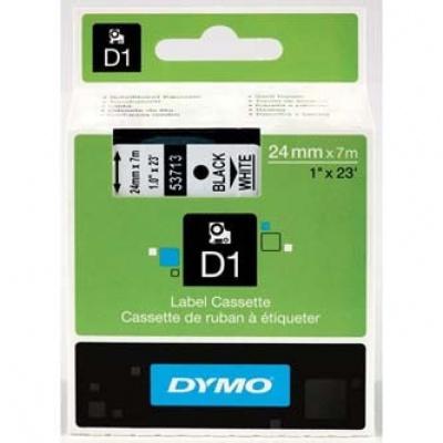 Dymo D1 53713, S0720930, 24mm x 7m czarny druk / biały podkład, taśma oryginalna