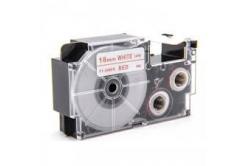 Taśma zamiennik Casio XR-18WER 18mm x 8m czerwony druk / biały podkład