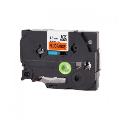 Taśma zamiennik Brother TZ-B41 / TZe-B41, signální 18mm x 8m, czarny druk / pomarańczowy podkład