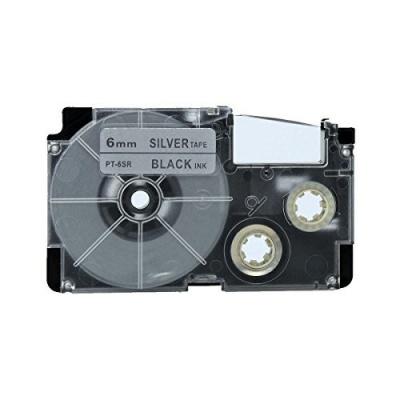 Taśma zamiennik Casio XR-6SR1 6mm x 8m czarny druk / srebrny podkład
