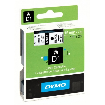 Dymo D1 45013, S0720530, 12mm x 7m czarny druk / biały podkład, taśma oryginalna