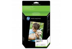 HP tusz oryginalna Q7966EE, HP 363, color, 150 stron, HP Set 6 kazet No.363 + Paper 10 x 15 cm, 150 listů, czarny v menší kapacitě, Pr