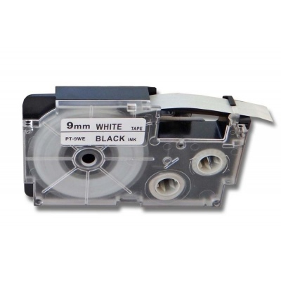 Taśma zamiennik Casio R5WE 9mm x 2,5m termokurczliwa, czarny druk / biały podkład