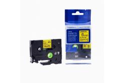 Taśma zamiennik Brother TZ-611 / TZe-611, 6mm x 8m, czarny druk / żółty podkład