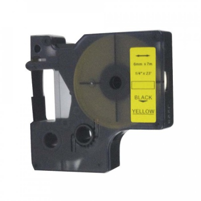 Taśma zamiennik Dymo 43618, S0720790, 6mm x 7m, czarny druk / żółty podkład