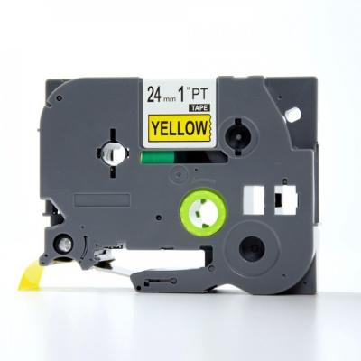Brother TZe-V651, 24mm x 5,5m, czarny druk / żółty podkład, vinyl, taśma zamiennik