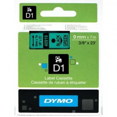 Dymo D1 40919, S0720740, 9mm x 7m czarny druk / zielony podkład, taśma oryginalna