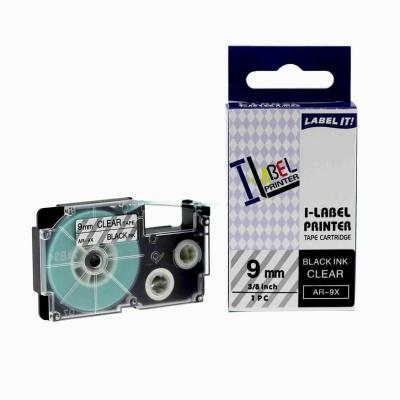 Taśma zamiennik Casio XR-9X1, 9mm x 8m czarny druk / przezroczysty podkład
