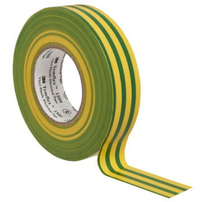 3M Temflex 1500 Taśma elektroizolacyjna , 15 mm x 10 m, zelenożółty