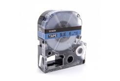 Epson LC-SC6BW, 6mm x 8m, czarny druk / niebieski podkład, taśma zamiennik