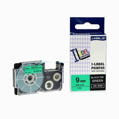 Taśma zamiennik Casio XR-9GN1, 9mm x 8m czarny druk / zielony podkład