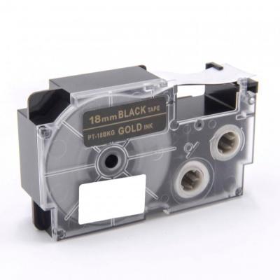 Taśma zamiennik Casio XR-18BKG 18mm x 8m złoty druk / biały podkład