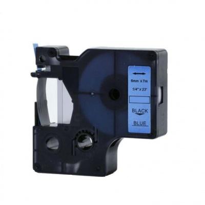 Taśma zamiennik Dymo 43616, 6mm x 7m, czarny druk / niebieski podkład