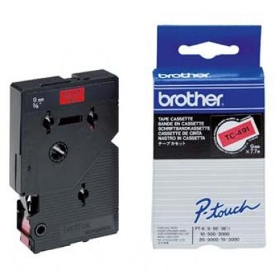 Brother TC-491, 9mm x 7,7m, czarny druk / czerwony podkład, taśma oryginalna