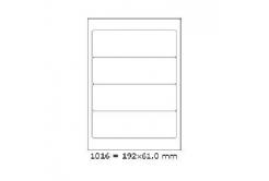 Samoprzylepne etykiety 192 x 61 mm, 4 etykiet, A4, 100 arkuszy