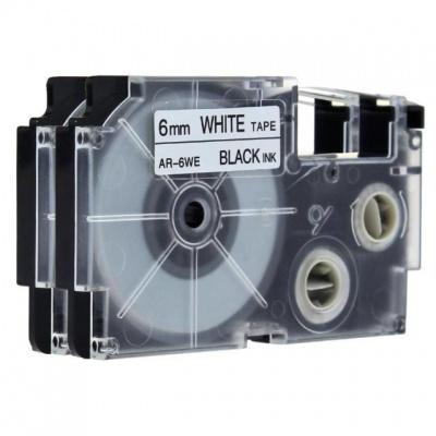 Taśma zamiennik Casio XR-6WE, 6mm x 8m czarny druk / biały podkład