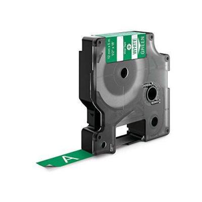 Taśma zamiennik Dymo 1805414, 12mm x 5, 5m biały druk / zielony podkład, vinyl