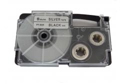 Taśma zamiennik Casio XR-9SR1 9mm x 8m czarny druk / srebrny podkład