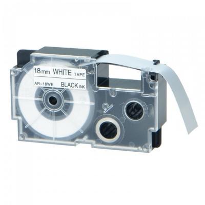 Taśma zamiennik Casio XR-18WE1, 18mm x 8m czarny druk / biały podkład