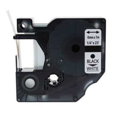 Taśma zamiennik Dymo 43613, S0720780, 6mm x 7m, czarny druk / biały podkład