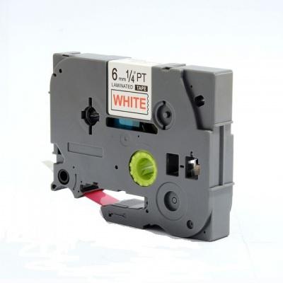 Taśma zamiennik Brother TZ-212 / TZe-212, 6mm x 8m, czerwony druk / biały podkład