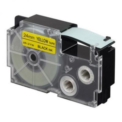 Taśma zamiennik Casio XR-24YW1, 24mm x 8m, czarny druk / żółty podkład