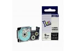 Taśma zamiennik Casio XR-9WE1, 9mm x 8m czarny druk / biały podkład