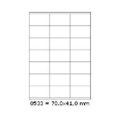 Samoprzylepne etykiety 70 x 41 mm, 21 etykiet, A4, 100 arkuszy