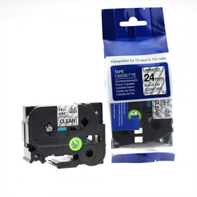 Taśma zamiennik Brother TZ-151 / TZe-151, 24mm x 8m, czarny druk / przezroczysty podkład