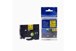 Taśma zamiennik Brother TZ-621 / TZe-621, 9mm x 8m, czarny druk / żółty podkład