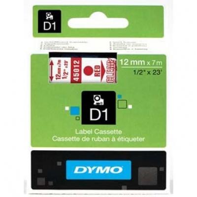 Dymo D1 45012, S0720520, 12mm x 7m, czerwony druk / przezroczysty podkład, taśma oryginalna