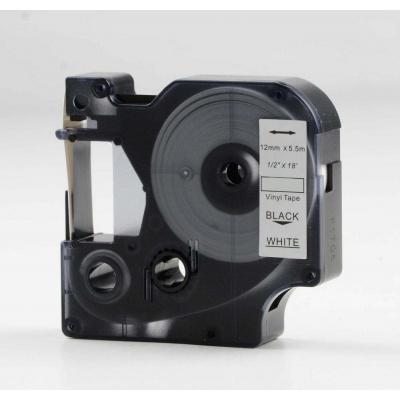 Taśma zamiennik Dymo 18444, 12mm x 5, 5m czarny druk / biały podkład, vinyl