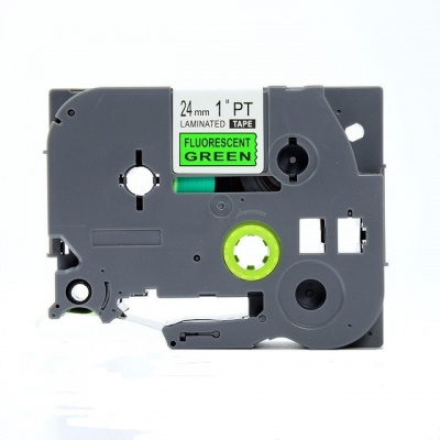 Taśma zamiennik Brother TZ-D51 / TZe-D51, signální 24mm x 8m, czarny druk / zielony podkład
