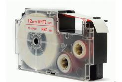 Taśma zamiennik Casio XR-12WER 12mm x 8m czerwony druk / biały podkład