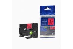 Taśma zamiennik Brother TZ-421 / TZe-421, 9mm x 8m, czarny druk / czerwony podkład