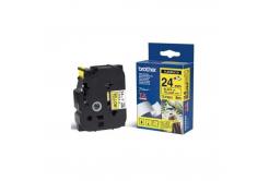 Brother TZ-FX651 / TZe-FX651, 24mm x 8m, czarny druk / żółty podkład, taśma oryginalna