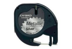 Dymo LetraTag 91208 S0721730 12mm x 4m czarny druk / srebrny podkład taśma oryginalna metalická