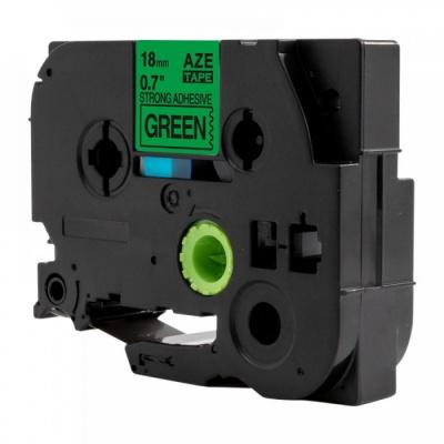 Taśma zamiennik Brother TZ-S741 / TZe-S741, 18mm x 8m, mocno klejący, czarny druk / zielony podkład