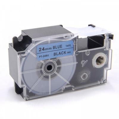 Taśma zamiennik Casio XR-24BU1, 24mm x 8m, czarny druk / niebieski podkład