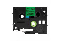 Taśma zamiennik Brother TZ-S731 / TZe-S731,12mm x8m mocno klejący, czarny druk / zielony podkład