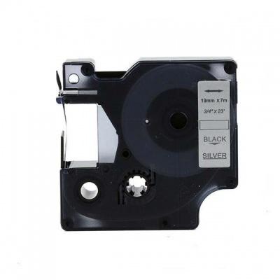 Taśma zamiennik Dymo 45812, 19mm x 7m, czarny druk / srebrny podkład