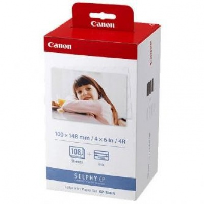 Canon KP108IN Color Ink Paper Set, 10x15cm, papier fotograficzny, 108 szt., błyszczący, biały