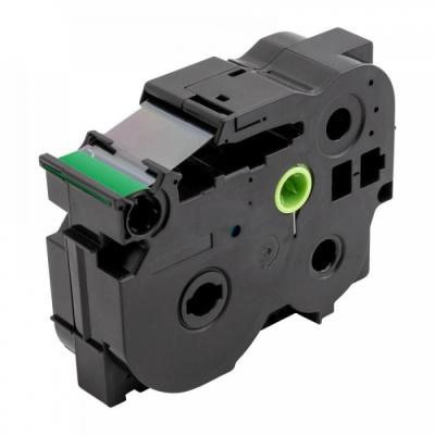 Taśma zamiennik Brother TZ-S751 / TZe-S751, 24mm x 8m, mocno klejący, czarny druk / zielony podkład