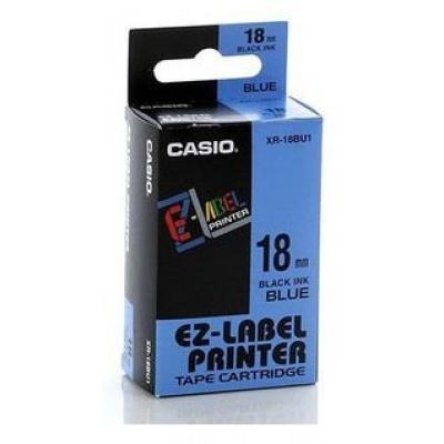 Casio XR-18BU1, 18mm x 8m, czarny druk / niebieski podkład, taśma oryginalna