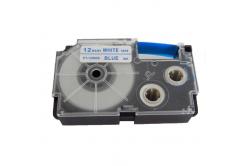 Taśma zamiennik Casio XR-12WEB 12mm x 8m niebieski druk / biały podkład
