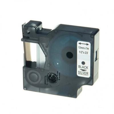 Taśma zamiennik Dymo 45022, S0720620, 12mm x 7m czarny druk / srebrny podkład