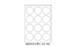 Samoprzylepne etykiety 60 x 60 mm, 12 etykiet, A4, 100 arkuszy