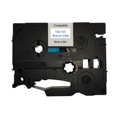Taśma zamiennik Brother TZ-123 / TZe-123, 9mm x 8m, niebieski druk / przezroczysty podkład