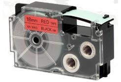 Taśma zamiennik Casio XR-18RD1, 18mm x 8m czarny druk / czerwony podkład